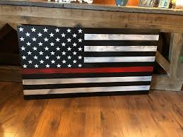 thin red line flag rustic american