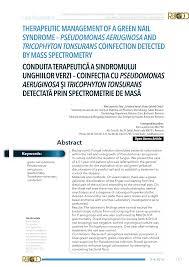 green nail syndrome pseudomonas