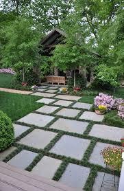 stone paver garden ideas the grass