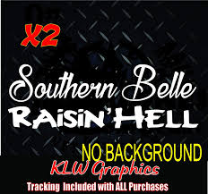 Amazon Com Southern Belle Raisin Hell Country Redneck Girl Car Truck Sticker Vinyl Decals Automotive