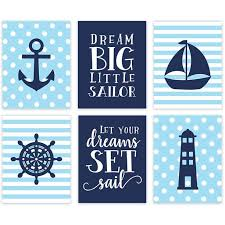 Andaz Press Nautical Theme Nursery Hanging Wall Art Baby Blue Stripes Dots Dream Big Let Your Dreams Set Sail Walmart Com Walmart Com