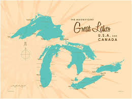 Great Lakes Map Giclee Art Print Poster ...