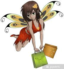 Small Shopping Fairy With Bags Anime Style Wall Mural Pixers We Live To Change