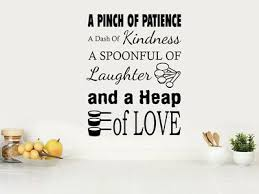 Kitchen Wall Quote A Pinch Of Patience Modern Wall Sticker Pvc Decal Ebay