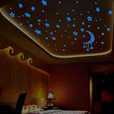 Amazon Com Moon Stars Glow In The Dark Wall Stickers Luminous Wall Decals For Nursery Kids Room Diy Home Decor Ceiling Decoration 1 Set Baby