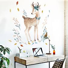 Bedroom Wall Decor Deer Wall Stickers For Kids Rooms Door Stickers Muraux Home Living Room House Decoration Accessories Bestdealplus