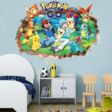 Pokemon Wall Stickers 3d Decals Cartoon Pikachu Wallpaper Posters For Kids Room For Sale Online Ebay