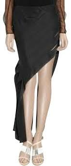 black silk asymmetric ribbon skirt