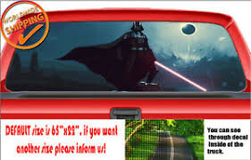 W669 Star Wars Darth Vader Lightsaber Rear Window Perforated Car Decal Sticker Ebay