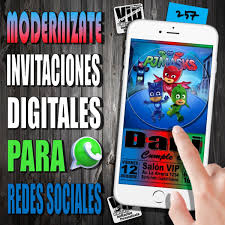 Invitacion Digital 257 Cumple Heroes En Pijama Pjmasks