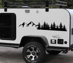 Product Forest And Mountains Car Accessories Graphic Tree Decal Vehicle Body Sticker Window Door Camper Rv Truck Trailer Suv Custom Nature Scene