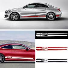 Hot 2pcs Car Side Body Vinyl Decal Sticker Racing Long Stripe Decals Graphics Ebay