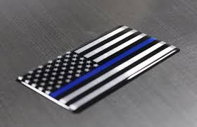 Thin Blue Line Car Emblem Metal Decal Police Law Enforcement Support Back Your Hero