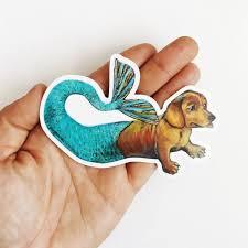 Laptop Stickers For Dog Lovers Mermaid Dachshund Vinyl Sticker Pergamo Paper Goods