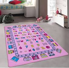 Amazon Com Kids Baby Room Daycare Classroom Playroom Girl S Area Rug Alphabet Letters Numbers Educational Fun Pink Purple Bright Colorful Vibrant Colors 8 Feet X 10 Feet Toys Games