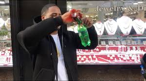pouring lean at the jewelry