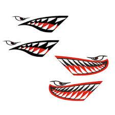 4x Shark Mouth Teeth Funny Decal Sticker Kayak Ocean Boat Jet Ski Car Decor Graphics Decals Car Truck Parts Decals Emblems License Frames Car Truck Parts