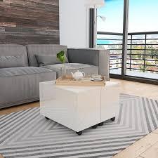 coffee table high gloss white 60x60x35
