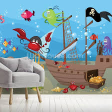Sunken Pirate Ship Wallpaper Wallsauce Us