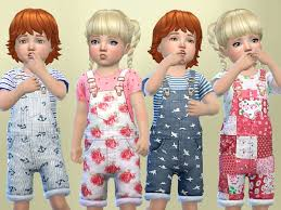 toddlers patterned overalls the sims