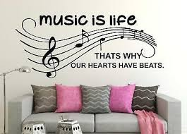 Music Is Life Quotes Wall Sticker Quote Words Decal Vinyl Decor Mural Ebay
