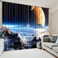 Outer Space 3d Curtains Creative Living Room Curtains Universe Kids Bedroom Drapes Cortinas Blackout Window Curtain Curtains Aliexpress