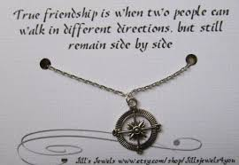 compass best friend necklace and quote inspirational card