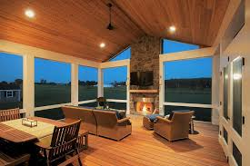 fireplace in a screened in porch