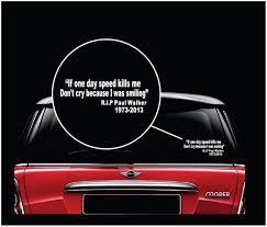 Smiling Paul Walker Rip Jdm Car Window Decal Stickers Custom Sticker Shop