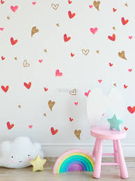 Watercolor Little Red And Gold Hearts Wall Decal Sticker Wall Decals Wallmur