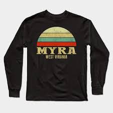 MYRA, WEST VIRGINIA Vintage Retro Sunset - Myra West Virginia - Long Sleeve  T-Shirt | TeePublic