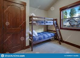 Boys Or Kids Bedroom Interior With Bunk Bed Blue Blankets And Beige New Room Stock Image Image Of Estate Pillow 176395527