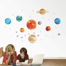 Amazon Com Mendom Planet Wall Decals The Removable Solar System Watercolor Space Wall Stickers For Kids Nursery Bedroom Living Room Kitchen Dining