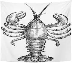 Semtomn Tapestry Fish Black Sketch ...