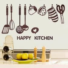 Removable Happy Kitchen Cooking Art Home Stickers Utensil Spatula Vinyl Removable Wall Decal Decor Paster Wish