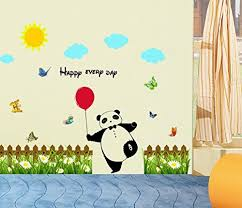 Bibitime Grass Flower Fence Border Red Balloon Panda Wall Decal Sun Cloud Butterfly Vinyl Sticker For Nursery Classroom Children Bedroom Kids Room Decor Home Art Mural Baby B075yqf1c8