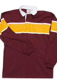 maroon with gold stripe rugby shirt