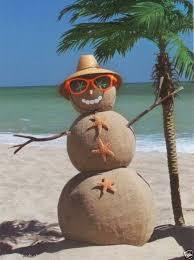 Sandman on beach with palm tree | Sand snowman, Beach christmas, Coastal  christmas