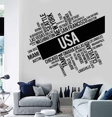 Vinyl Wall Decal Usa Cities Abstract Map United States Stickers Murals Wallstickers4you