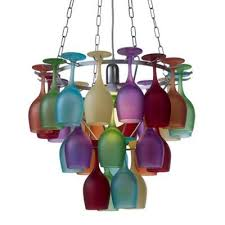 coloured 3 tier wine glass chandelier