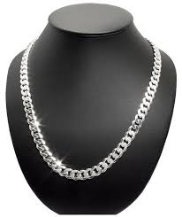 men s solid silver curb chain 9 2mm