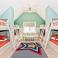 Amazon Com Kid Rug For Bedroom 4 X 6 Yamtion Boys And Girls Area Rug Large Gray And Red Soft Children Carpet Non Slip Indoor Star Modern Rugs For Living Room Playroom Classroom Nursery