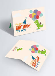 Pequena Tarjeta De Cumpleanos Beige De Dinosaurio Imagen