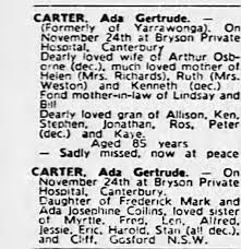 Obituary for Ada CARTER (Aged 85) - Newspapers.com