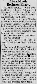 Obituary for Clara Myrtle Robinson, 1911-1996 (Aged 85 ...