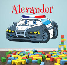 Personalized Name Wall Decal Police Car Wall Art Kids Room Etsy