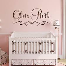 Amazon Com Personalized Name Wall Decal Fancy Name Decal Elegant Baby Nursery Decal Girls Bedroom Vinyl Wall Art Cursive Name Wall Decal 30 X 17 Kitchen Dining