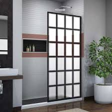 frosted fixed shower doors