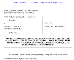 """Adam Carlesco on Twitter: """"""""Jone Doe"""" filed charges in 2016 in federal  court, alleging @realDonaldTrump assaulted her multiple times at Epstein's  mansion while she was 13. Jane withdrew her complaint on Nov."""