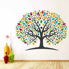 Rainbow Tree Pink Yellow Leaves Wall Decal Sticker Ws 45588 Ebay
